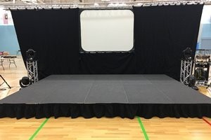 We can supply stage and a variety of other equipment for your event, please ask for details. It's much easier to source from one supplier and is normally more cost effective.