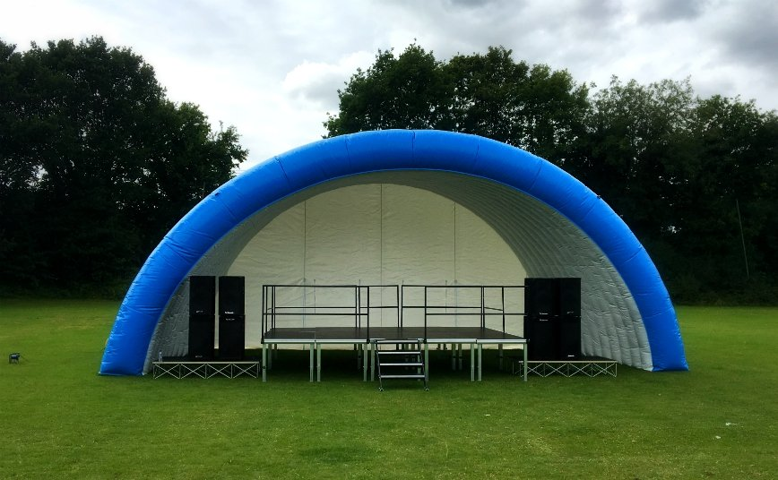 stage and inflatable canopy for outdoor events